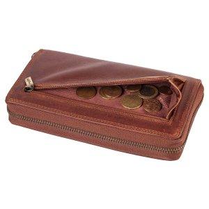 MATADOR Damen Portemonnaie Leder Langbörse Geldbörse RFID Braun