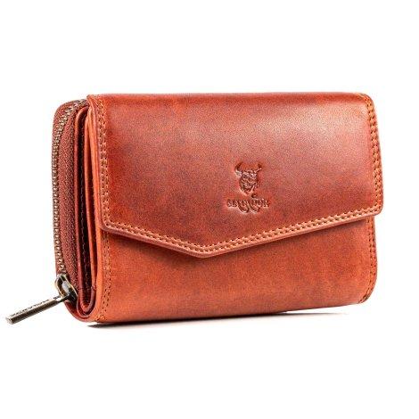 MATADOR Damen Leder Geldbörse Geldtasche RFID TÜV Vintage Braun