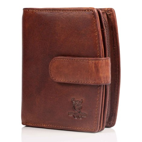MATADOR Damen Leder Geldbörse RFID TÜV Antik Vintage Braun