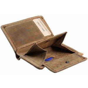 Pranke Herren Leder Geldbörse Portemonnaie Brieftasche Antik Braun
