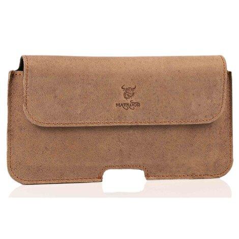 MATADOR Samsung Galaxy S8 Leder Hülle Case Ledertasche Clip Braun