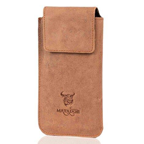 MATADOR Galaxy S8 Leder Gürteltasche Ledertasche Schlaufe Braun