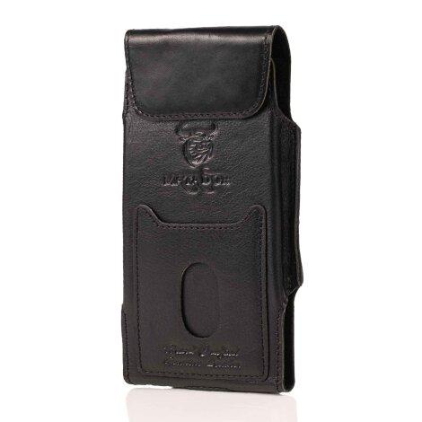 MATADOR iPhone 5 5s 5c SE Echt Leder Gürteltasche Vertikal Schwarz