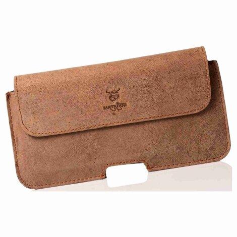 MATADOR iPhone 5 5s 5c SE Echt Leder Gürteltasche Quer Braun