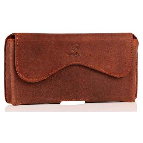 MATADOR iPhone 5 5s 5c SE Echt Leder Gürteltasche Braun