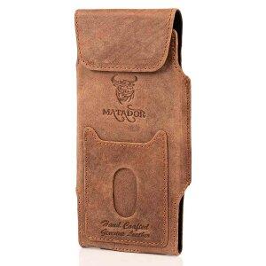 MATADOR Apple iPhone 6 Plus 6s Plus Echt Leder Gürteltasche Braun