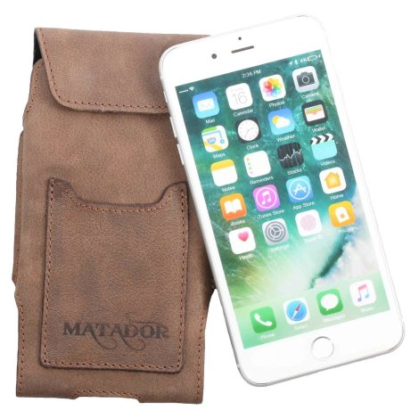 MATADOR iPhone 6 Plus 6s Plus Leder Gürteltasche Vertikal Braun