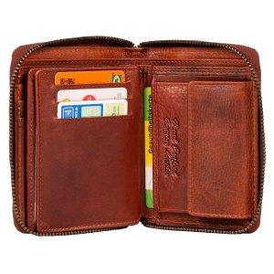MATADOR Geldbörse Portemonnaie Damen Herren Leder RFID TÜV Braun