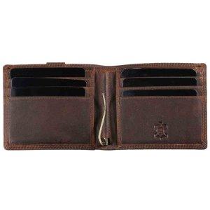 MATADOR Leder RFID Geldbörse Herren Geldbeutel mit Geldklammer Braun