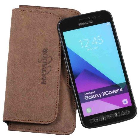 MATADOR Samsung Galaxy Xcover 4 Leder Handytasche Clip Braun