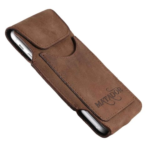 MATADOR Leder iPhone 7 Vertikaltasche Gürteltasche Vintage Braun