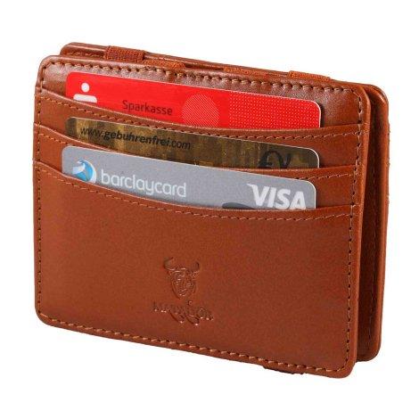 MATADOR Leder Magic-Wallet Kreditkarten-Hülle-Etui RFID Konjak Braun