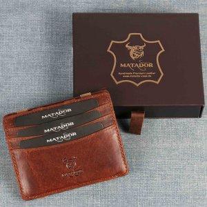 MATADOR Leder Magic-Wallet Kreditkarten-Hülle-Etui RFID Vintage Braun