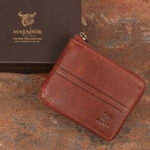 MATADOR Herren Leder Geldbörse RFID TÜV Antik Vintage Braun