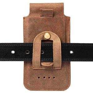 MATADOR iPhone X XS Leder Vertikaltasche Gürteltasche Vintage Braun
