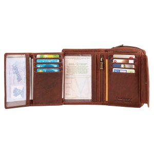 MATADOR Geldbörse Damen Portemonnaie Leder TÜV RFID Braun