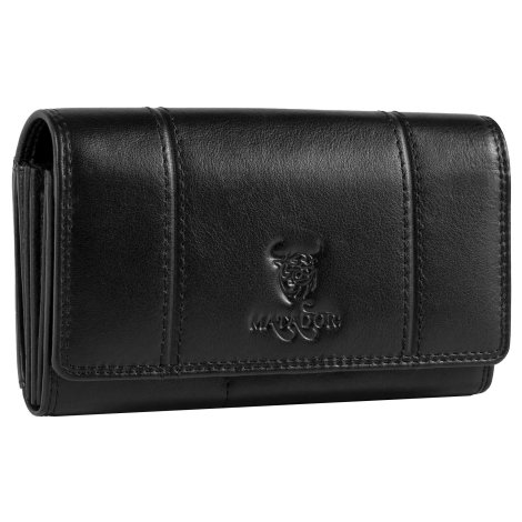 MATADOR Leder Damen Langbörse Geldbörse Portemonnaie RFID Schwarz