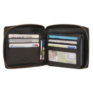 MATADOR Damen Herren Leder Geldbörse RFID Vintage Schwarz