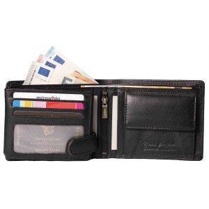 MATADOR Herren Leder Geldbörse RFID Brieftasche Querformat Schwarz
