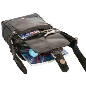 MATADOR Leder Umhängetasche Schultertasche Hüfttasche Vintage Schwarz