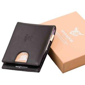 MATADOR Leder Kreditkartenetui mit Dollarclip Geldklammer RFID Schwarz