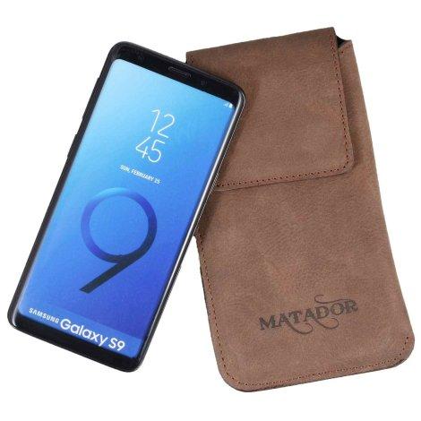 MATADOR Galaxy S9 Ledertasche Gürteltasche Vertikal Braun