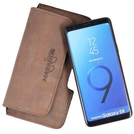 MATADOR Samsung Galaxy S9 Leder Tasche Hülle Case Quer Braun
