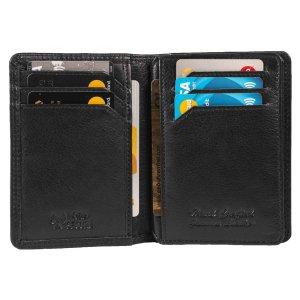 MATADOR Leder RFID Kreditkarten-Hülle-Etui Ausweis-Etui-Hülle Schwarz