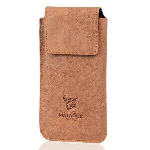 MATADOR Galaxy S9 Plus S10 Plus S20 Plus Leder Handytasche Braun
