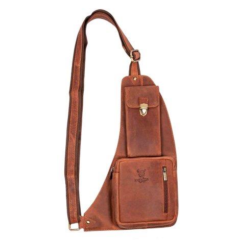MATADOR Leder Umhängetasche Schultertasche Handyfach Vintage Braun