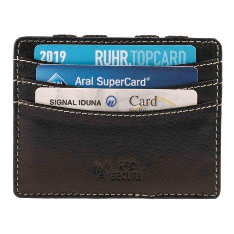 MATADOR Leder Magic Wallet RFID Kreditkarten-Hülle-Etui Schwarz