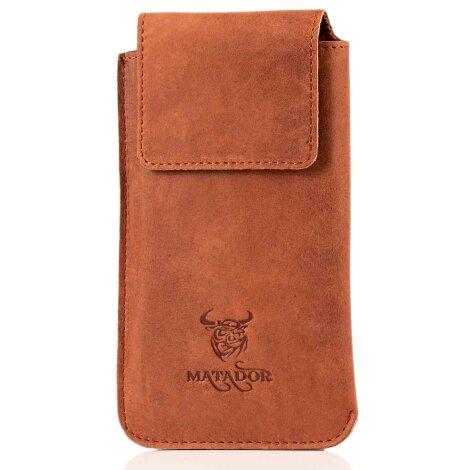 MATADOR Huawei P20 Pro Leder Hülle Case Vertikal Braun
