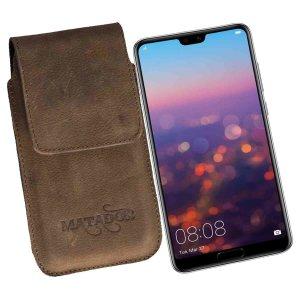 MATADOR Huawei P20 Pro Leder Handytasche Clip Braun