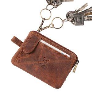 MATADOR Leder Schlüsselmäppchen Schlüsseltasche 2 Ringe Vintage Braun