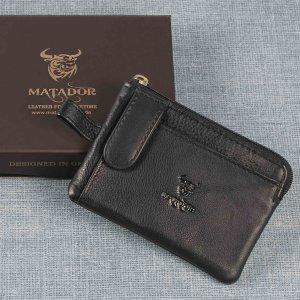 MATADOR Leder Schlüsseletui Schlüsseltasche 2 Schlüsselringe Schwarz