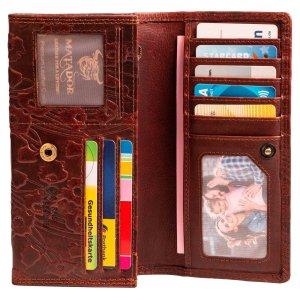 MATADOR Damen Portemonnaie Leder Geldbörse Langbörse Blumen RFID Braun