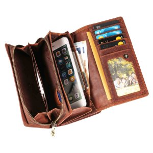 MATADOR Langbörse Damengeldbörse Damen Geldbeutel RFID Vintage Braun