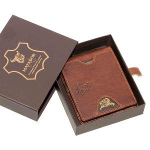 MATADOR Leder Kreditkarten-Hülle-Etui RFID Geldklammer Vintage Braun