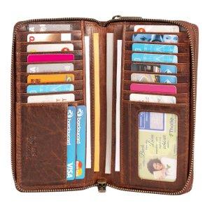 MATADOR Geldbörse Damen Leder Langbörse Blumen 29 Fächer Braun