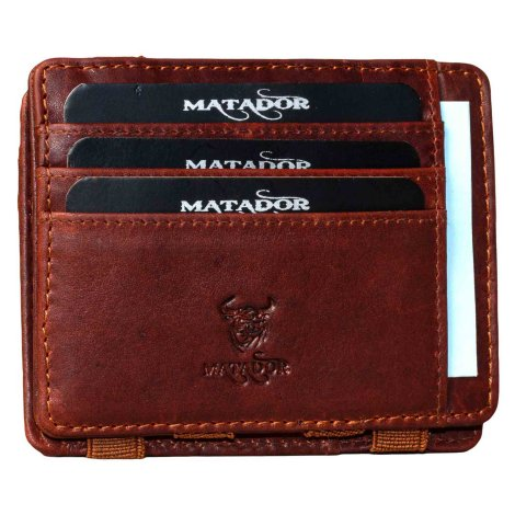 MATADOR RFID Magic Wallet Echt Leder Kreditkarten-Etui-Hülle Braun