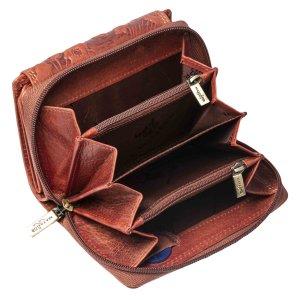 MATADOR Damen Portemonnaie Leder Geldbörse Blumen RFID Braun