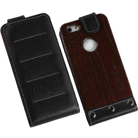 MATADOR Apple iPhone SE 2020 6 6s Echt Holz Leder Handytasche Vertikal