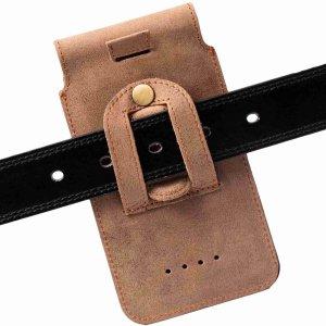 MATADOR® Galaxy Note 10 Plus S20 Ultra Leder Handytasche Clip Braun