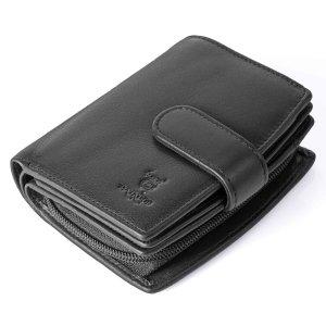 MATADOR Damen Leder Geldbörse RFID TüV Viele Fächer Schwarz