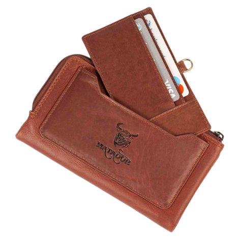 MATADOR Portemonnaie Geldbörse Gross Handyfach RFID TüV Braun