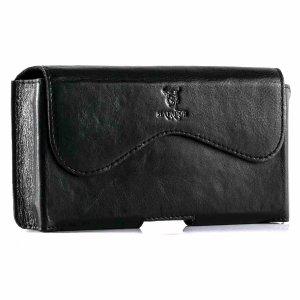 MATADOR Leder iPhone 5 5S 5C SE Handytasche Clip Schlaufe Schwarz