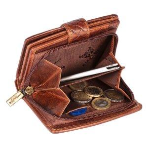 MATADOR Damen Portemonnaie Echt Leder RFID TÜV KARO Design
