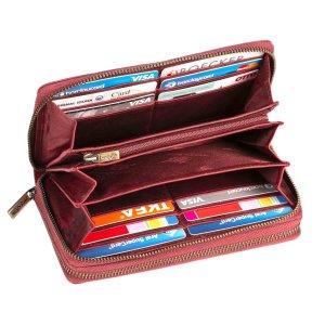 MATADOR Damen Leder Geldbörse Langbörse Geldbeutel TÜV RFID Pink