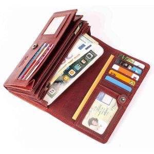 MATADOR Leder Portemonnaie Damen Langbörse 16 Fächer RFID TüV Rot